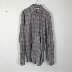 Eton mens plaid dress shirt 16.5